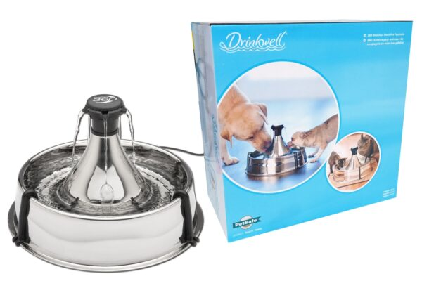 Stainless Steel Drinkwell 360 degree drinking fountain with carbon filters