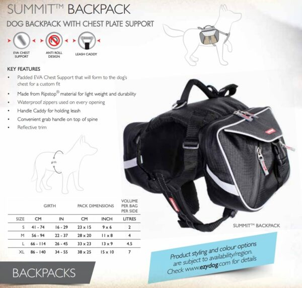 Information about EzyDog Summit Backpack